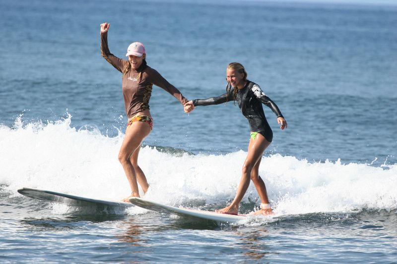 Melissa and Anae surf stoke